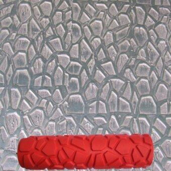 10 inch DIY Rubber Empaistic Pattern Painting Roller for WallDecration (Red)