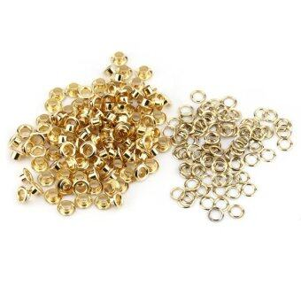 100PCS Brass Eyelets Grommets with Washers for Leather Craft Sewing(Gold)