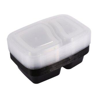10pcs Plastic Microwavable Two Compartments Meal Prep Containers Food Storage Boxes with Lids (Black)