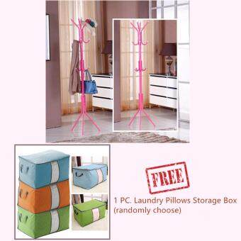 [12Hook] Convenient Hanging Steel Pole Rack for Clothes & Bags + Free 1 PC. Colourful Bamboo Charcoal Laundry Pillows Storage Bag Box
