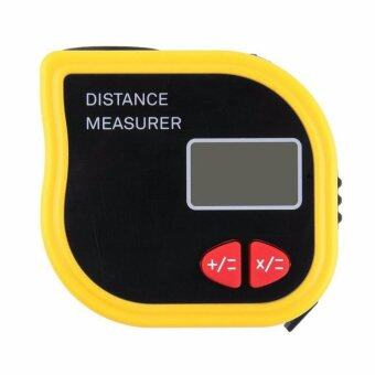 18M Mini Ultrasonic Digital Tape Measure Laser Range FinderDistance Meter Laser Pointer Rangefinder Level Tool Measurer AreaYellow