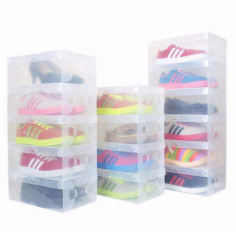 1Pc/lot Plastic Foldable Shoes Storage Organizer Box ThickeningTransparent Stackable Clamshell Shoebox Cases Household