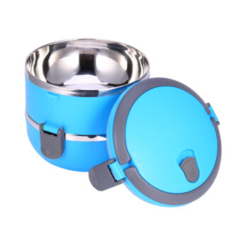 2 Layer Stainless Steel Portable Thermal Insulated Lunch Box Food Container(Blue)