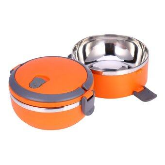 2 Layer Stainless Steel Portable Thermal Insulated Lunch Box FoodContainer(Orange)