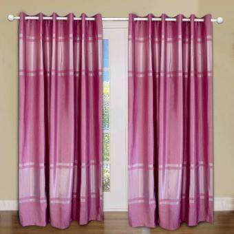 2 PIECES Essina Eyelet Curtain Blackout 200cm x 260cm- FLOW MAROON (4 Panel Sliding Door up to 300cm width)