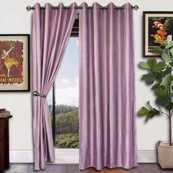 2 PIECES : Essina Eyelet Curtain Essential Blackout 140cm x 260cm -KALINA LAVENDER(fit window/sliding door up to 250cm width)