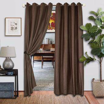 2 PIECES : Essina Premium Eyelet Curtain Blackout 140cm x 260cm -SHANE BROWN (fit window/sliding door from 150-250cm width)