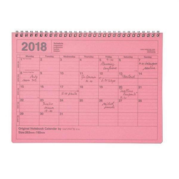 2018 Perencana Agenda Diary/Mulai dari Januari 2018/Buku Catatan Kalender/M Ukuran/Merah Muda-Internasional