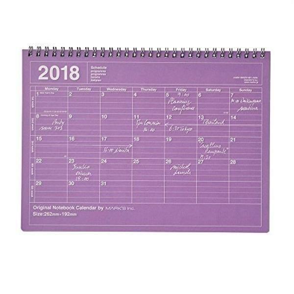 2018 Perencana Agenda Diary/Mulai dari Januari 2018/Buku Catatan Kalender/M Ukuran/Ungu-Internasional