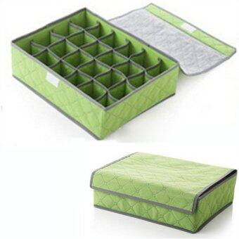 24 Grid Detachable Bamboo Charcoal Practical Tidy Underwear BoxSocks Organizer Shorts Drawer Closet Storage Bag Green