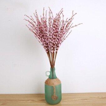 2 Pcs Rumah Palsu Buatan Anggrek Bunga Sutra Pesta Pengantin & Wedding Dekorasi Taman Kamar Pink-Intl