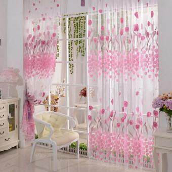 2pcs Tulip Flower Sheer Curtains Sheers Voile Tulle Window Curtain