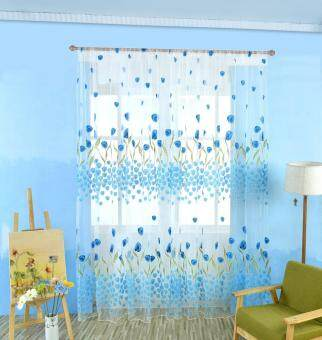 2pcs Tulip Flower Sheer Curtains Sheers Voile Tulle Window Curtain-Blue