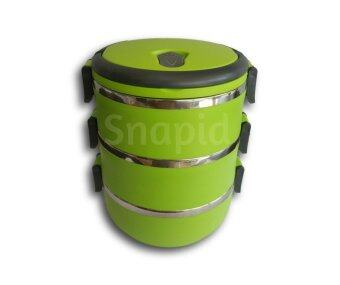 3 Tier Stainless Steel Thermal Insulation Lunch Box/Tiffin Carrier (Green)