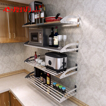 304 stainless steel kitchen supplies shelving rack wall storage microwave oven electric rice cooker kitchen layer shelf