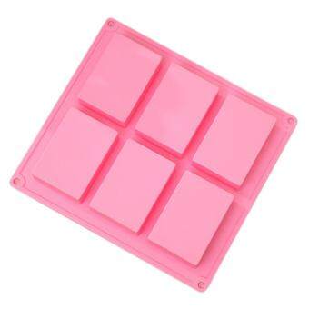 360DSC 6 Cavities Rectangle Silicone Cake Baking Mold Cake Pan Muffin Cups Handmade Soap Moulds Biscuit Chocolate Ice Cube Tray DIY Mold - Pink