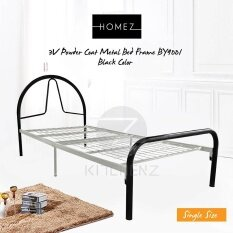 3v Powder Coat Metal Bed Frame By9001 Single Black