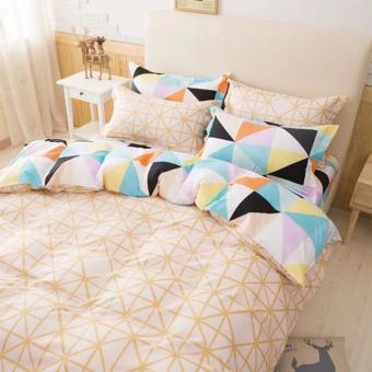4 in 1 Atlantic Queen Fitted Bedding Set bed protector home Quilt Cover Polyester Sheet Pillowcase Bedsheet - Style C