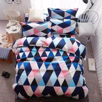 4 in 1 Carmax Queen Fitted Bedding Set bed protector home Quilt Cover Polyester Sheet Pillowcase Bedsheet - Style D