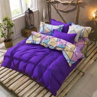 4 in 1 Feria Queen Fitted Bedding Set bed protector home Quilt Cover Polyester Sheet Pillowcase Bedsheet - Style C