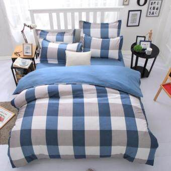 4 in 1 Onstar Queen Fitted Bedding Set bed protector home Quilt Cover Polyester Sheet Pillowcase Bedsheet - Style D