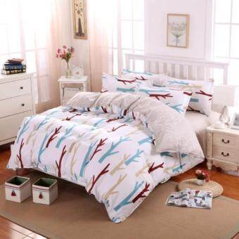 4 in 1 Sylvania Queen Fitted Bedding Set bed protector home Quilt Cover Polyester Sheet Pillowcase Bedsheet - Style B