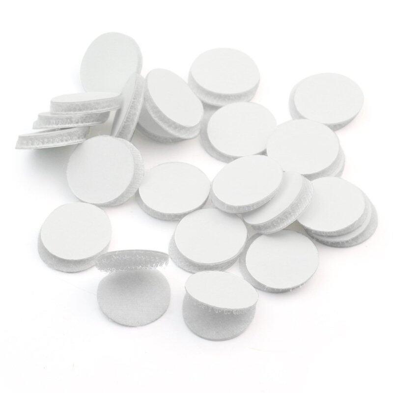 50 Pairs Magic Sticky Self Adhesive Velcro Hook Loop Round Pads Craft Tape White