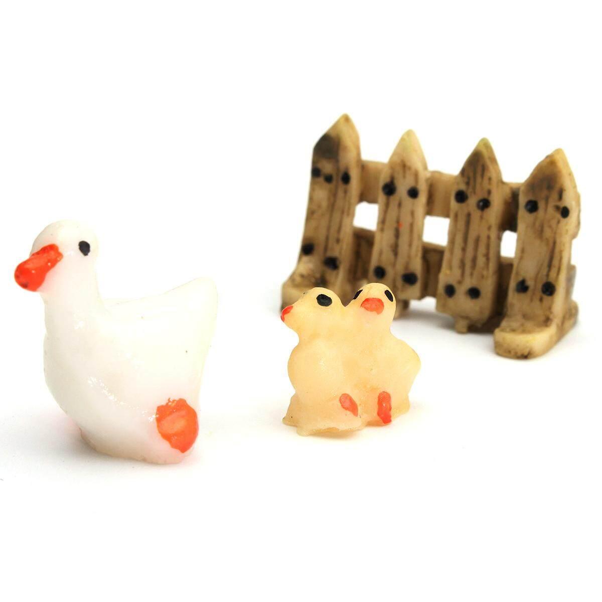 5 Pcs Set 3 Pcs Ornamen Taman Patung Miniatur Resin Kerajinan Pot Tanaman Dekorasi Peri Bebek Tiga Potong- INTL