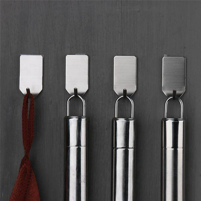 8 Pieces /Set Stainless Steel 3M Self Adhesive Sticky Hooks Wall Storage Hanger New Home Hotel Kitchen Bathroom Cabinet