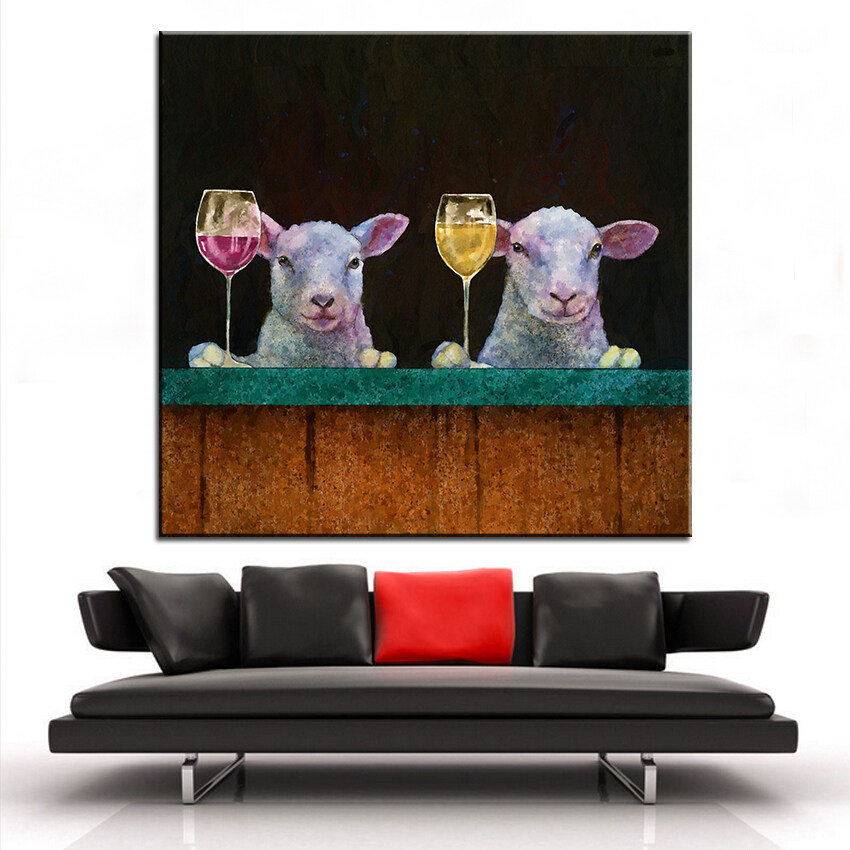 80x80CM poor little lambs Steampunk Oil Painting On Canvas Modern Painting Prints Wall Art Pictures Decor For Living Room Home Decor Unframed