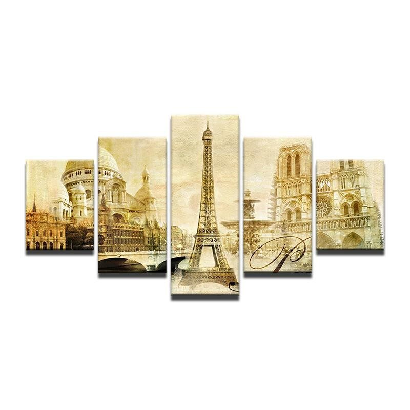 8x14inX2 8x18inX2 8x22inX1 Hot Sale European French Architectural Landscape Decoration Oil Painting Living Room Bedroom Dining Room Canvas Painting (Frame) - intl