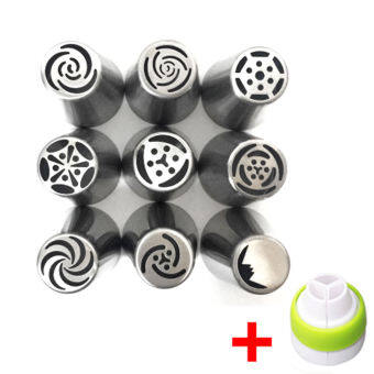 9PC Russian Tulip Flower Icing Piping Nozzles Cake Decorating Tips Tool+ Coupler