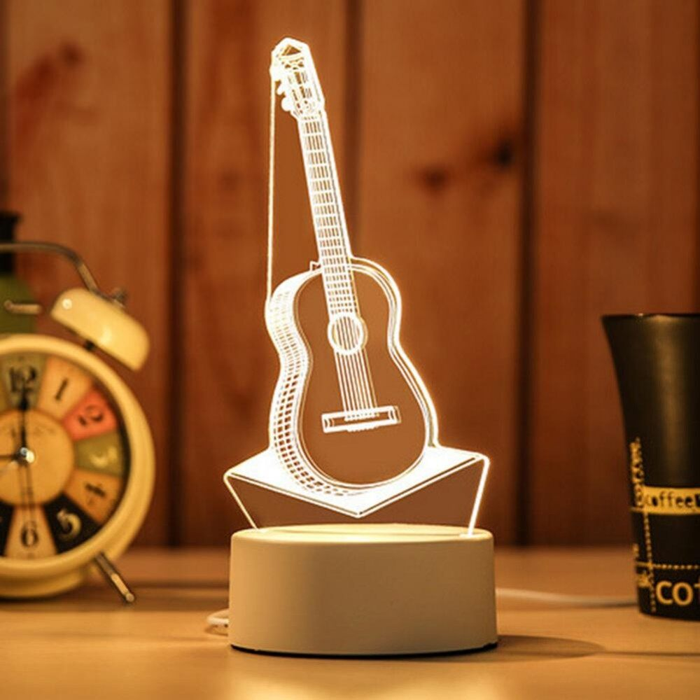 Lucky-G Acrylic Creative Figure 3D Lamp Nightlight Desk Light as Perfect Home Decoration Gift Specification:European regulations Style:Guitar - intl