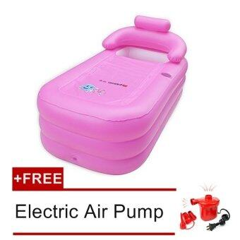 adult leisurely spa inflatable bath tub pink free electric pump lazada malaysia. Black Bedroom Furniture Sets. Home Design Ideas