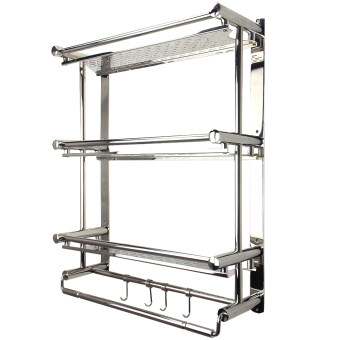 Alpha Living 3 Tier Wall Mounted Bathroom Shelf with Hooks and Towel Holder