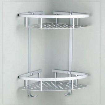 Bathroom 2-Tier Corner Shelf Basket Towel Shampoo Storage HookAluminum Wall Mount