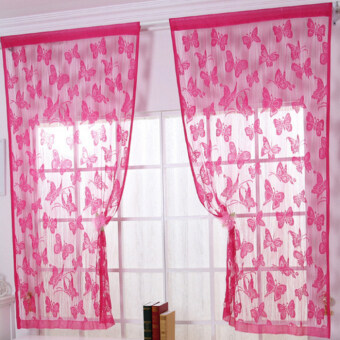 Butterfly Pattern Tassel String Door Curtain Window Room CurtainDivider Rose