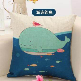 Cartoon cotton linen small animal cushion pillow cover