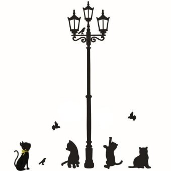 Cats Street Lamp Lights Stickers Wall Decal Removable Art VinylDecor