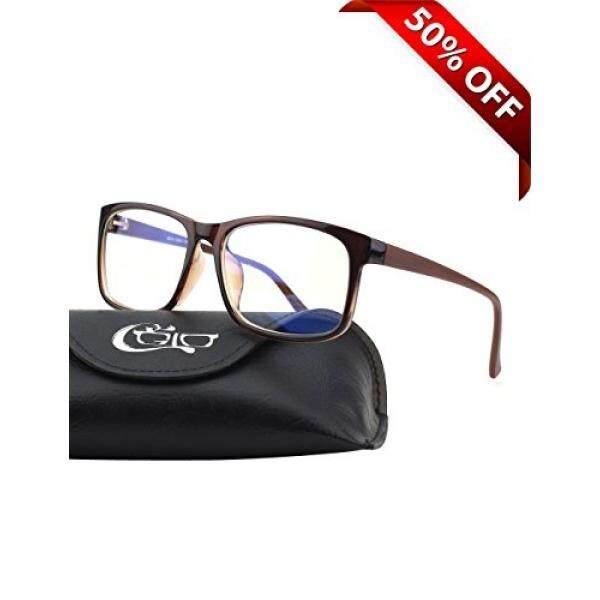 CGID CT12 Blue Light Blocking Glasses, Anti Glare Fatigue Blocking Sakit Kepala Ketegangan Mata, Kacamata Keselamatan untuk Komputer/Telepon, Rectangle Brown Frame, Lensa Transparan-Intl