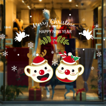 Christmas decorations wall stickers animal pendant glass stickerswindow shopping wallpaper sticker Christmas snowflake cup