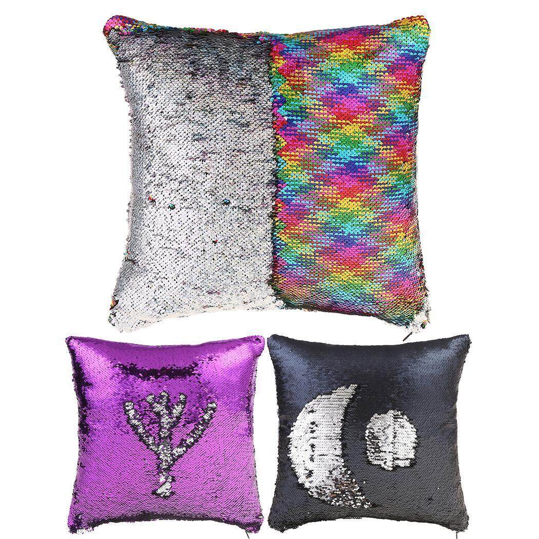 Clearance Price Sunwonder Letter Printed Shiny Sequins Pillow Case Cushion Cover(Purple) - intl