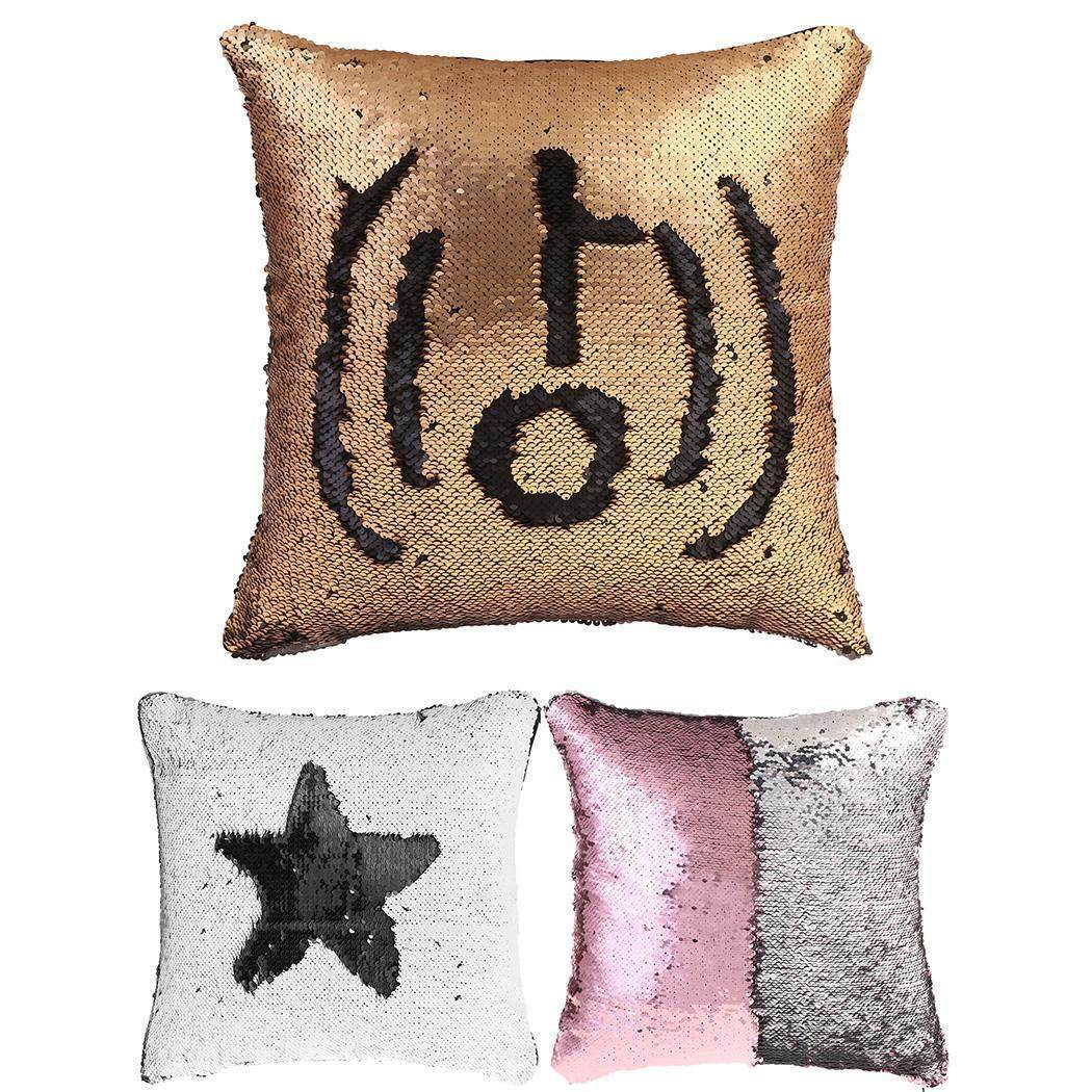 Clearance Price Sunwonder Letter Printed Shiny Sequins Pillow Case Cushion Cover(Silver) - intl