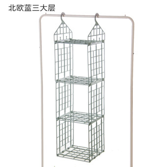 Creative folding wardrobe layered storage rack clothing finishing rack multi-cabinet shelf dormitory wardrobe hanging basket