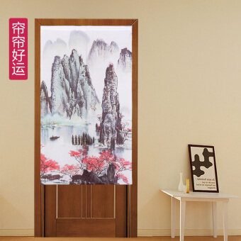 Curtain curtain luck feng shui rod bedroom polyester off the Landscape Painting