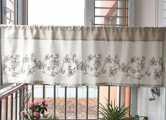 Curtain floating curtains finished Korean embroidery fabric coffeecurtain