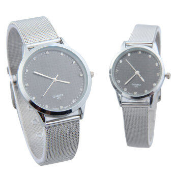 Delicate Quartz Analog Couple Watch with Rhinestone Decor Black Dial