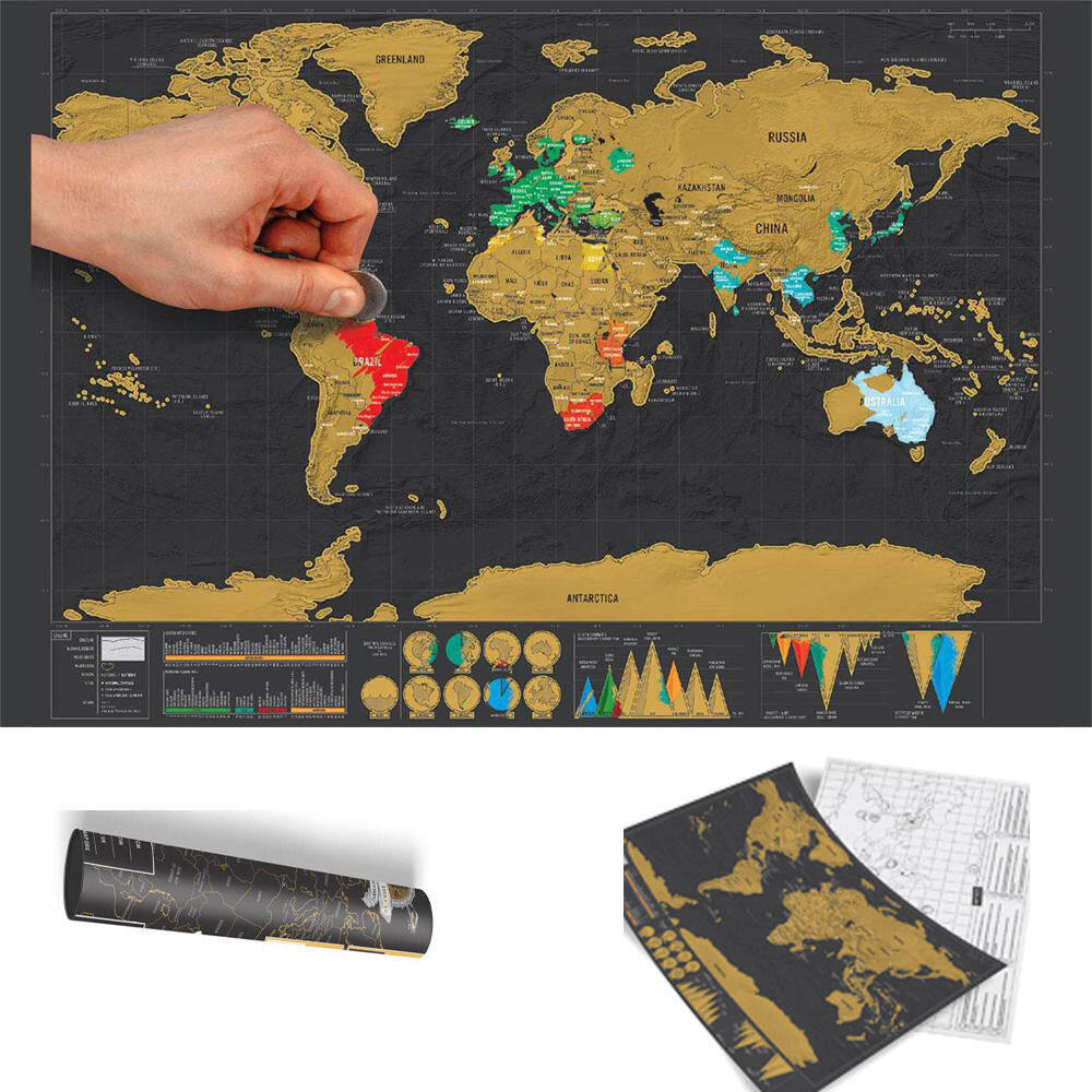 Deluxe Travel Edition Scratch Off World Map Poster Personalized Journal Log  Gift Lazada Malaysia