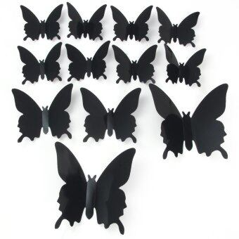 DIY 3D Butterfly Wall Stickers Mirror Art Decal PVC Paper for HomeShowcase - 12Pcs