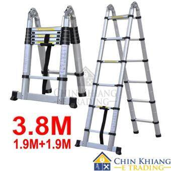 Double-Sided Telescopic Extendable Aluminium Pole Ladder DEP12 12Steps 3.8 m